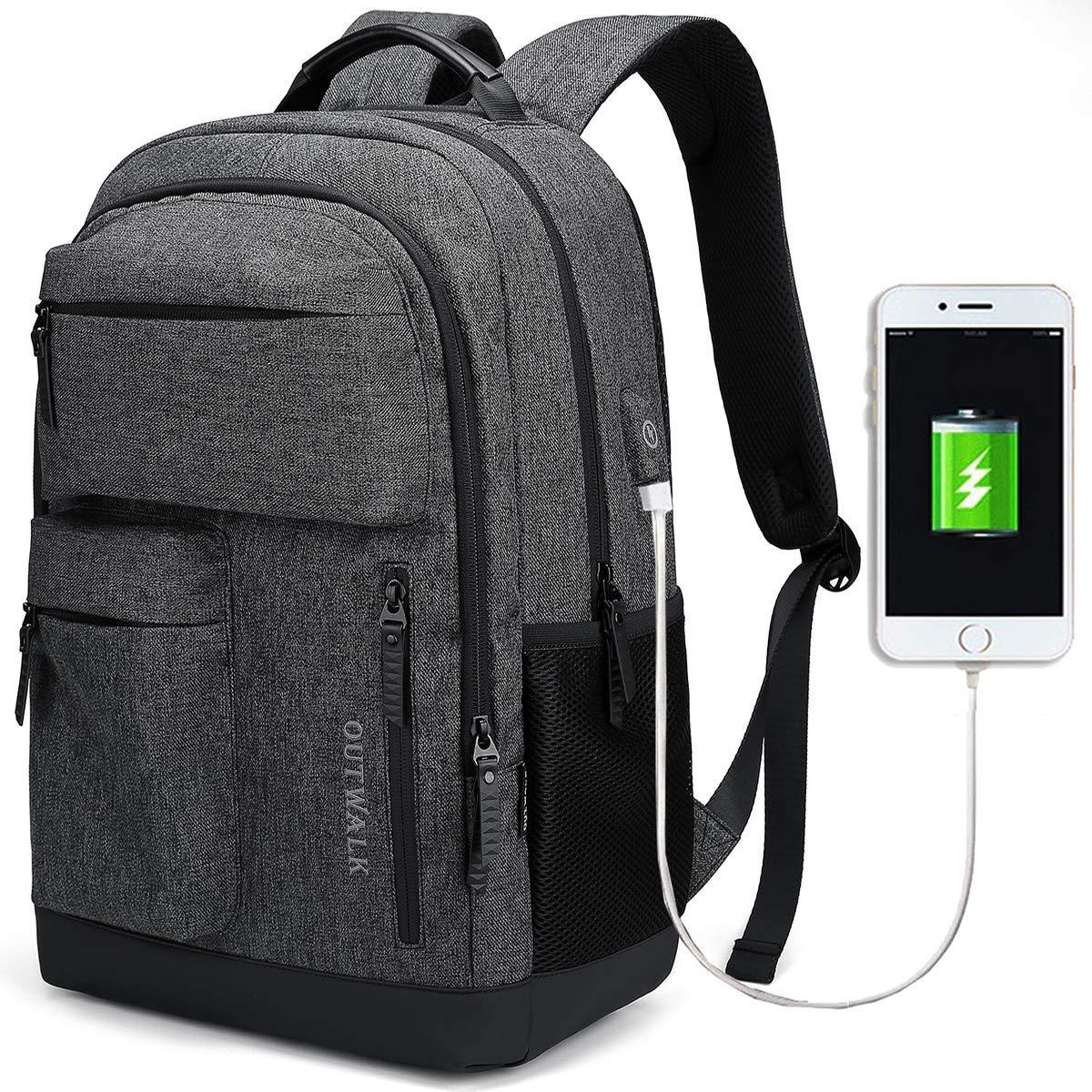 190deabff4472 JANSBEN Wasserdichte Laptop Rucksack Herren Damen Jungen Schulrucksack mit  USB-Ladeanschluss
