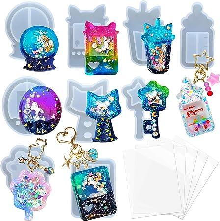 Juego de moldes de resina, consolas de juegos, botella, huella de gato, bola de vidrio, 9 bandejas de silicona con 5 láminas selladas: Amazon.com.mx: Juegos y juguetes