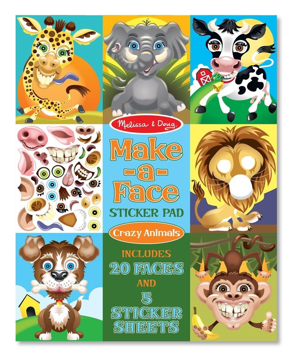 Melissa Doug Make a Face Sticker Pad Crazy Animals 20 Faces 5 Sticker Sheets