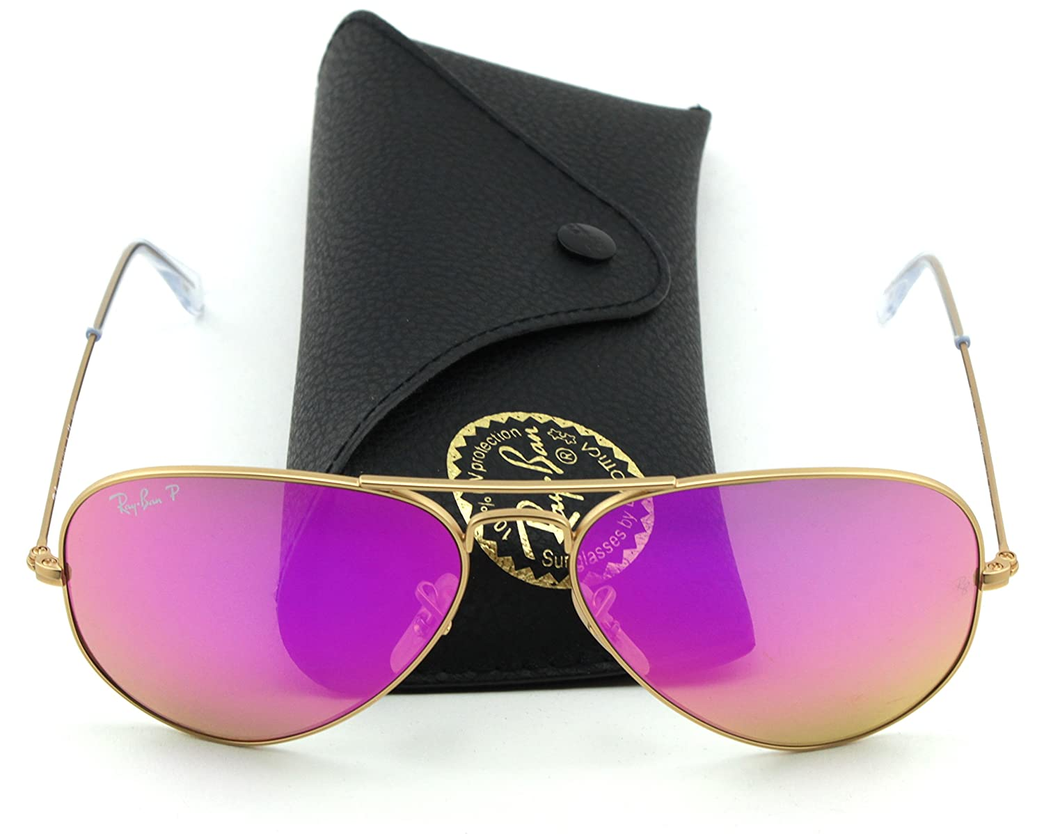 f8c300dab0 Amazon.com  Ray-Ban RB3025 112 1Q Gold Frame   Cyclamen Flash Polarized  Lens Sunglasses  Clothing