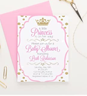 Amazoncom Princess Baby Shower Invitations Girl Pink Gold