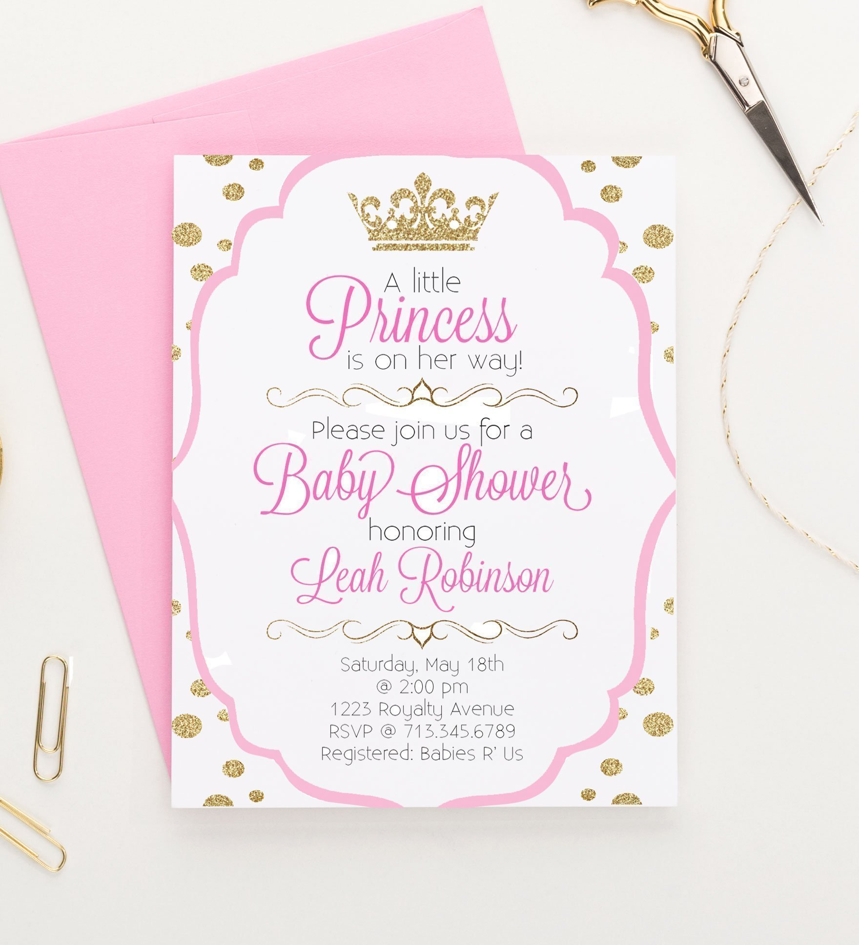 Little Princess Baby Shower Invitations, Princess Baby Shower Invitations, Royal Princess Baby Shower Invitations, Modern Baby Shower Invitation, Your choice of quantity and envelope color,