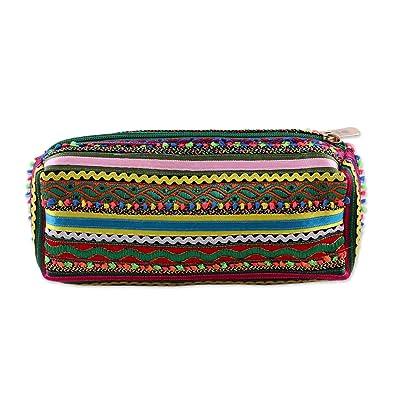 Novica Embellished pouch, Joyful Stripes