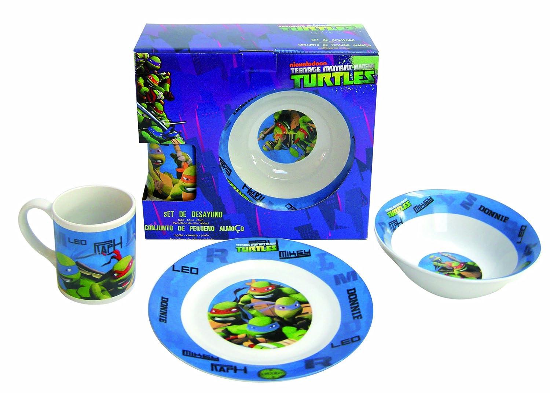 Tortugas Ninja - Set de desayuno (plato, bol y taza), color ...