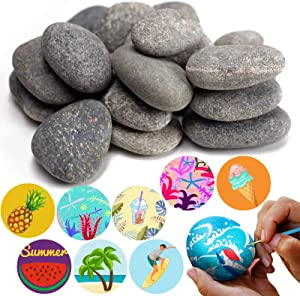 BigOtters Painting Rocks, 20 Natural Rocks for Painting Kindness Rocks Range from About 2 to 3 inches, About 3.7 pounds of Rocks(Dark Gray)