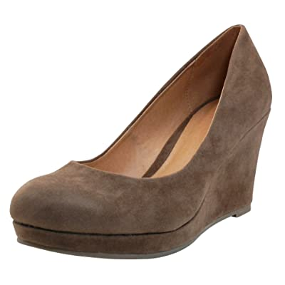 Cambridge Select Women's Classic Closed Round Toe Slip-on Platform Wedge | Shoes