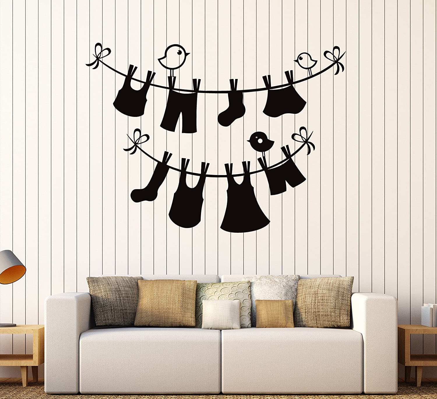 Vinyl Wall Decal Laundry Service Room Wash Things Stickers Large Decor (ig3918) Black