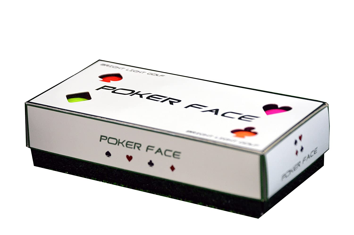 Poker Face Golf Ball – Color Distance 8 Pack Red, Hot Pink, Orange, Yellow Green Premium 2 Piece High Performance Ball