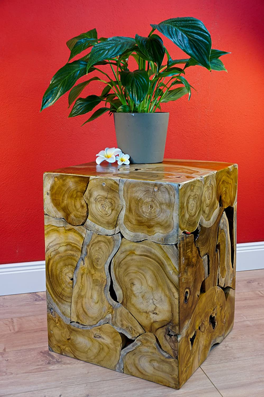 40 x 35 cm Kinaree Tavolino da Salotto in Legno di Teak Naturale