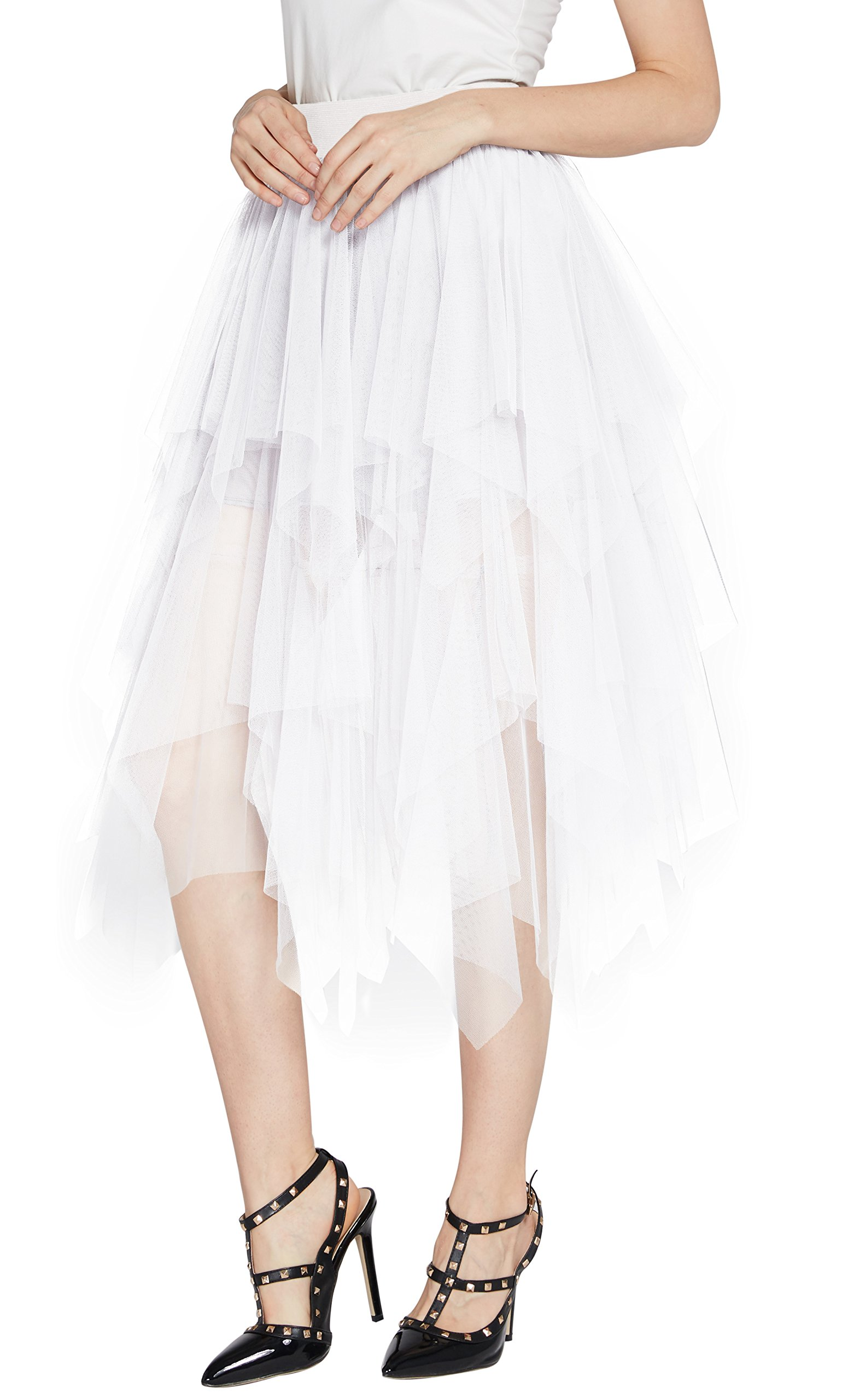 Urban CoCo Women's Sheer Tutu Skirt Tulle Mesh Layered Midi Skirt (M, White-2)