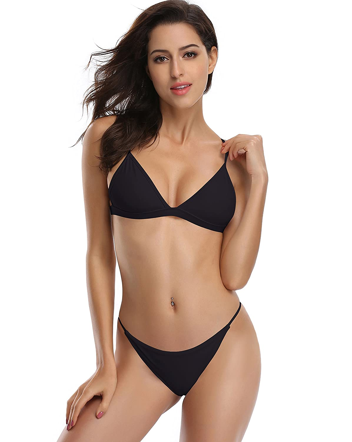 Amazon.com: SHEKINI Women's Triangle Top Brazilian Bottom Two Piece Bikini  Swimsuit Set: Clothing