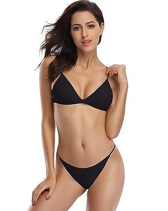52eebf9de785 SHEKINI Women's Triangle Top Brazilian Bottom Two Piece Bikini Swimsuit Set  (Black, Small/