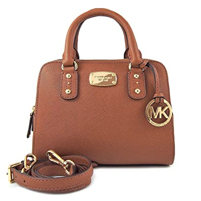 0813a1f59fa0 ... norway michael kors saffiano leather mini satchel in luggage brown  05038 73cc4