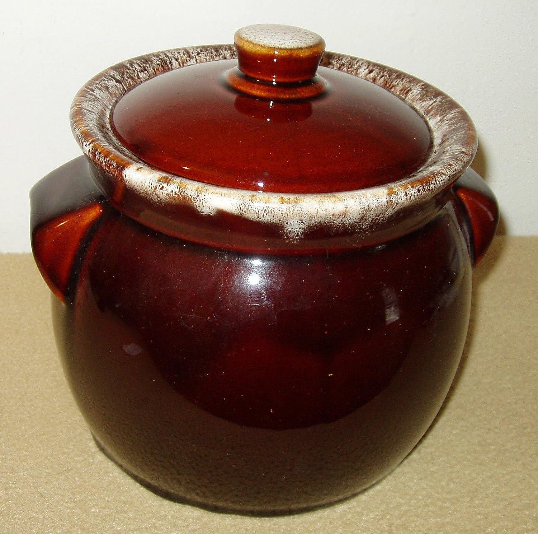 Vintage Brown Drip Glaze Lidded Ceramic Bean Pot Slow Cooker or Warming Crock