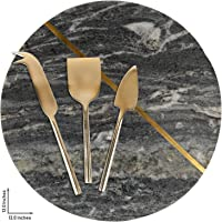 """GAURI KOHLI Gray Marble & Brass Cheese Board/Charcuterie Platter; with Set of 3 Brass Cheese Knives (Large Size 12"""")"""
