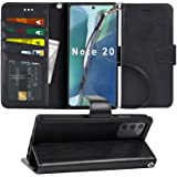 Arae Wallet Case for Samsung Galaxy Note 20 with Wrist Strap and Credit Card Holders - Black
