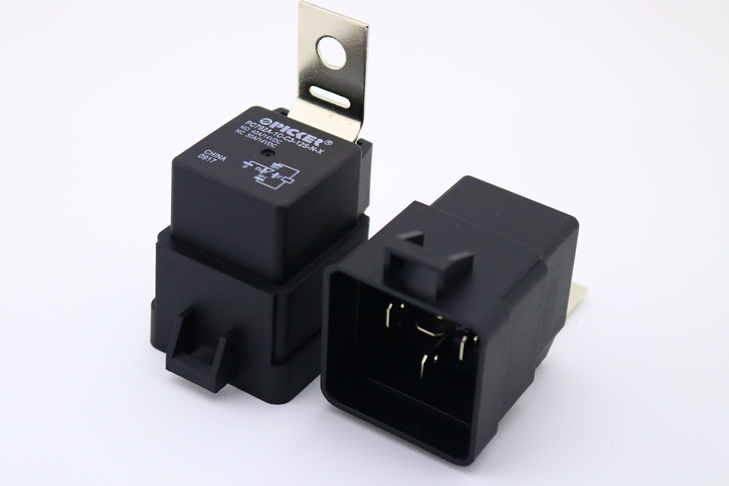 (x2) PC792A-1C-C3-12S-N-X-2 | 5 Pin SPDT 12 VDC Coil, 40/30 Amp, Mini ISO Sealed Automotive Plug-in Relay in a Weatherproof Case with Metal Mounting Brackets