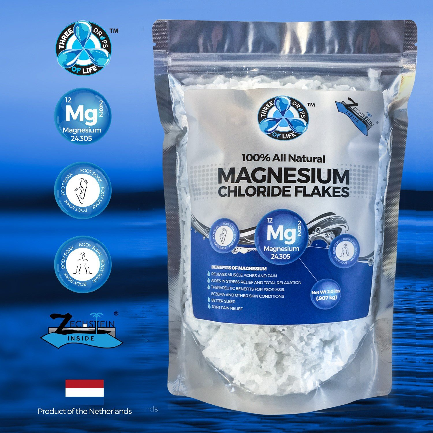 Amazon.com : All Natural Magnesium Chloride Flakes, Best Pure Zechstein Inside for Baths, Foot Soaks and Relaxation, Numerous Health Benefits - 2lb bulk bag ...