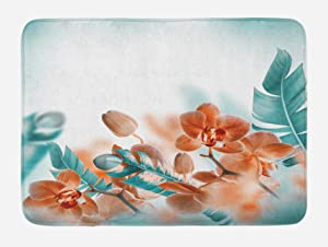 """Ambesonne Tropical Bath Mat, Tropical Orchids Blossom Leaves on Blurred Background Floral Themed Modern Art, Plush Bathroom Decor Mat with Non Slip Backing, 29.5"""" X 17.5"""", Orange Teal"""