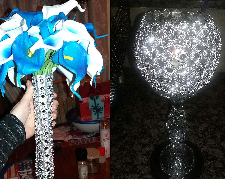 YYaaloa 12 PCS Flower Shape 4 Row Imitation Diamond Rhinestone Ribbon for Weeding Banquet Decoration and DIY Accessory Craft Silver 12PCS