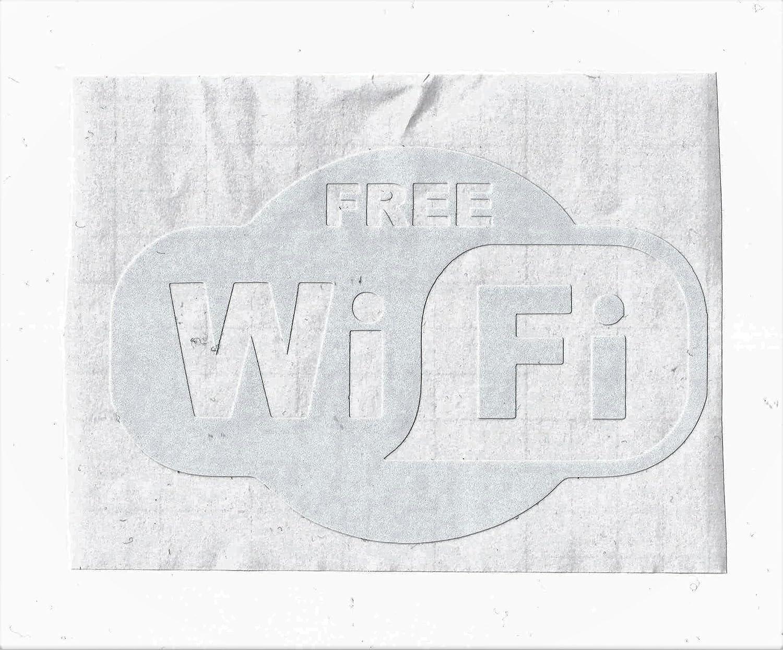 Wifi Aufkleber Sticker Free Wifi Internet Hellgrau Weiß Pickerl Gratis Wlan Bürobedarf Schreibwaren