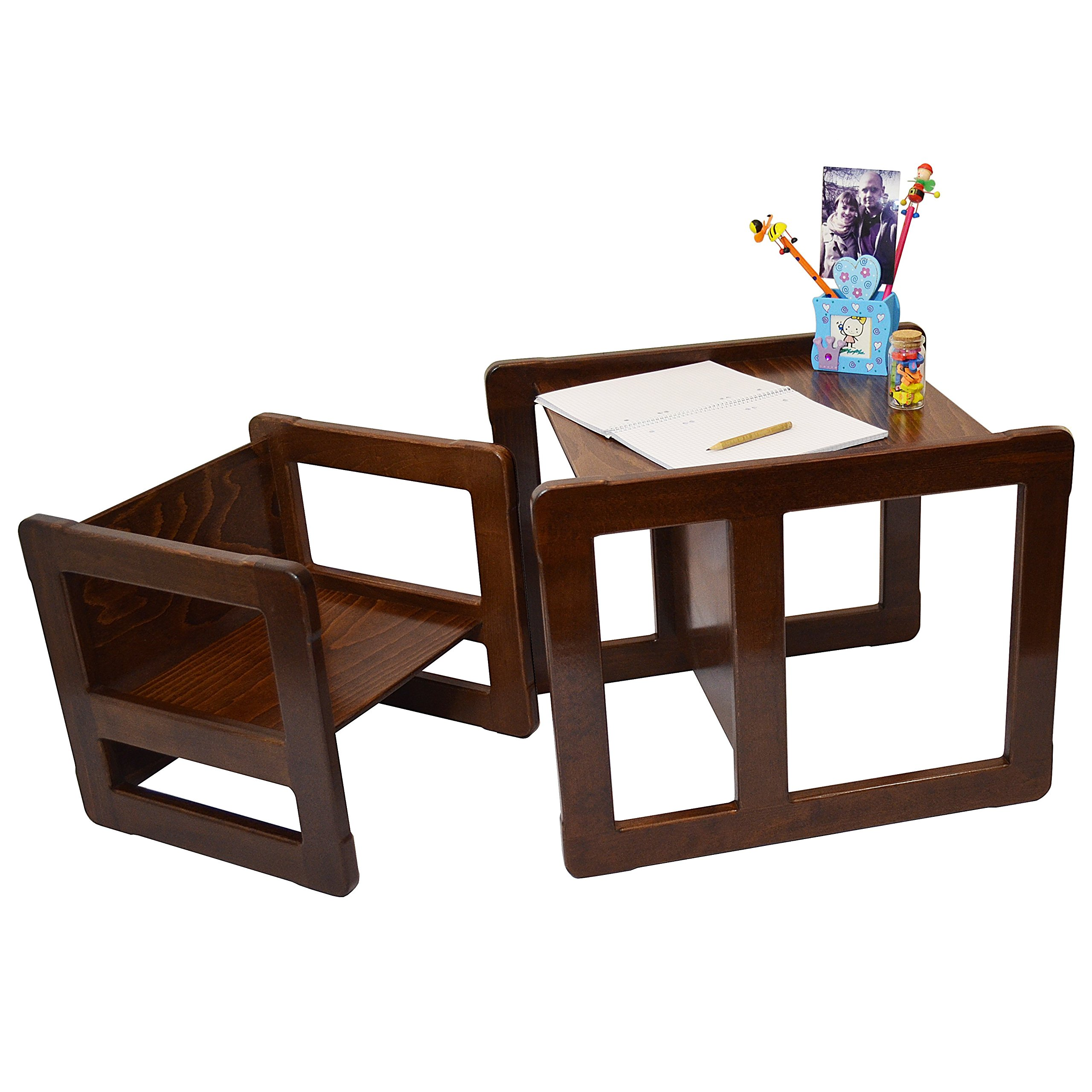 3 in 1 Childrens Multifunctional Furniture Set of 2, One Small Chair or Table and One Large Chair or Table Beech Wood, Dark Stained by Obique Ltd (Image #1)