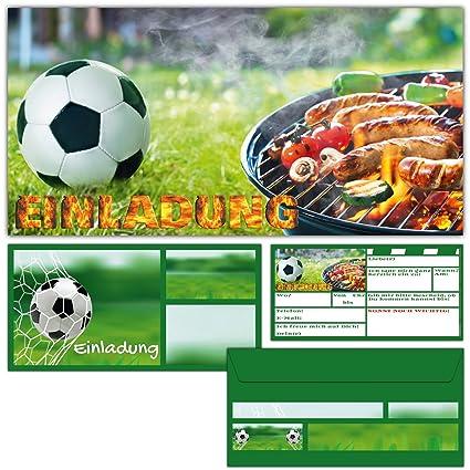 12er Set Fussball Grillen Einladungskarten Mit Umschlagen Fussball Einladungen Fur Bbq Grill Party Jungen Madchen Kindergeburtstag Von Breitenwerk