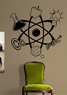 Science Atom Design Decal Sticker Art Vinyl Geek Nerd School & Amazon.com: Eu003dMC2 Wall Decal Science Wall Art Stickers Einstein VWAQ ...