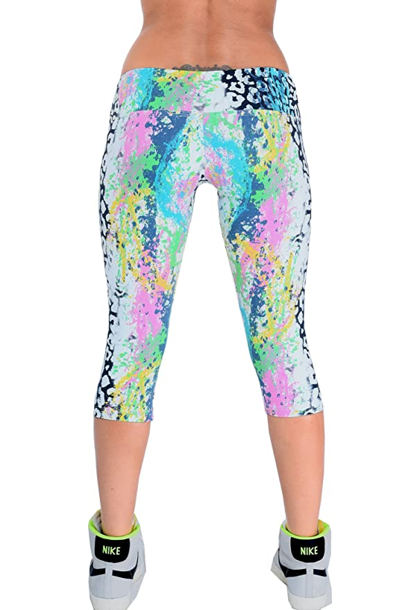 8516954d5322c Lino Fitness Womens High Compression Low Rise Printed Active Capri Yoga  Leggings at Amazon Women's Clothing store: