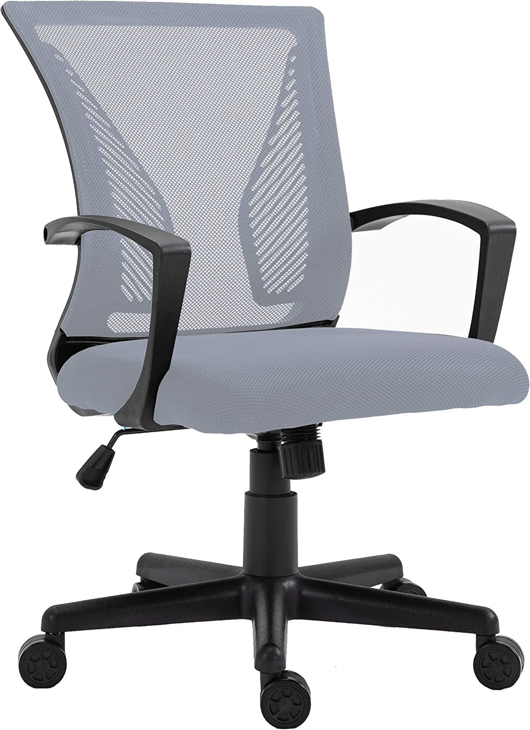 HALTER Desk Chair - Grey Gaming Mesh Chair - Adjustable and Comfortable Ergonomic Chair with Armrests and Wing Lumbar Support - Ideal Gaming or Home Office Chair
