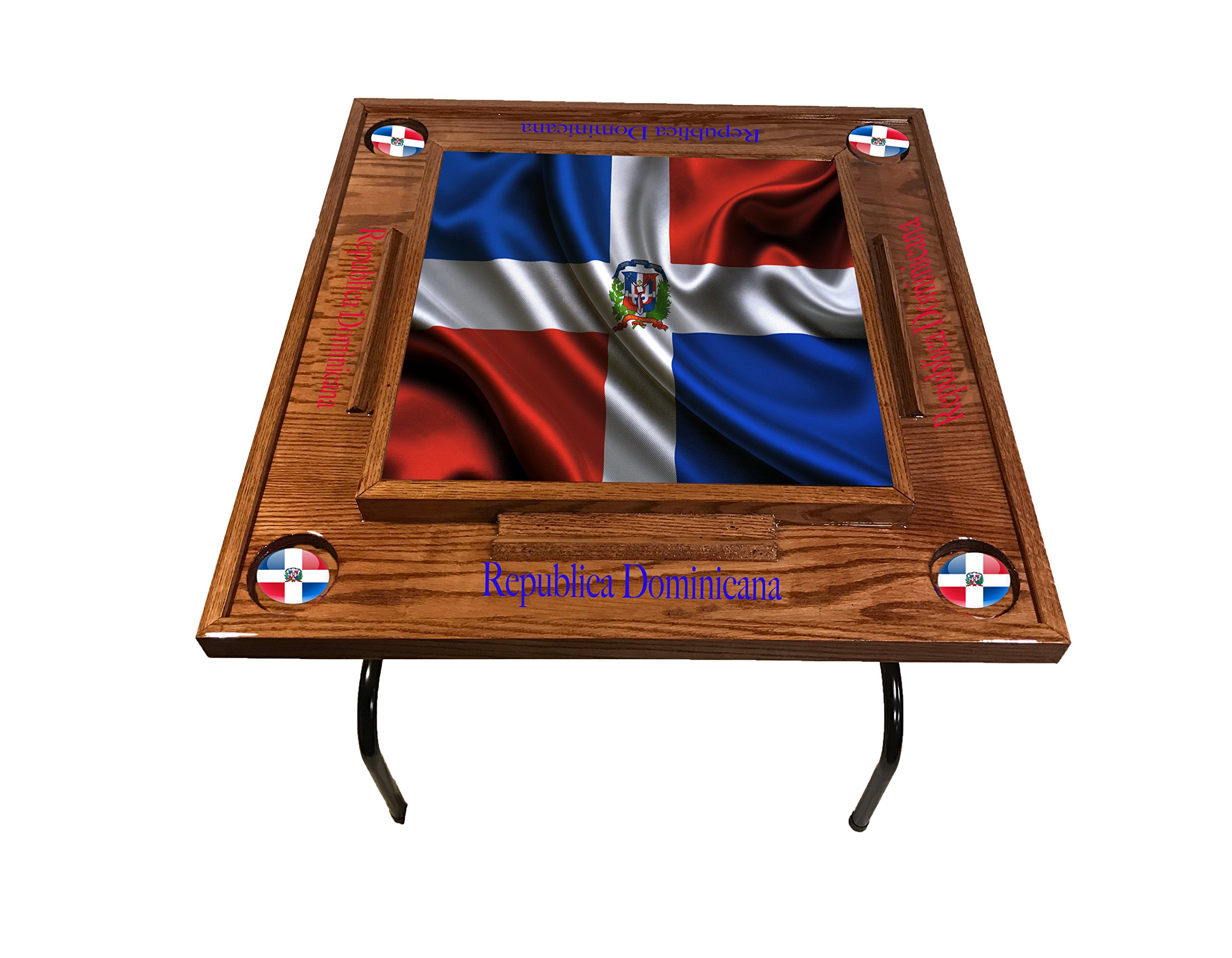 latinos r us Dominican Republic w full Falg Domino Table (Red Mahogany)