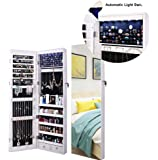 AOOU Jewelry Organizer Jewelry Cabinet, Full Screen Display View Larger Mirror, Lockable Wall Door Mounted, Full Length Mirror, Large Capacity Dressing Mirror Makeup Jewelry Armoire (White)