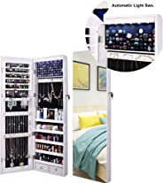 AOOU Jewelry Organizer Jewelry Cabinet, Full Screen Display View Larger Mirror, Lockable Wall Door Mounted, Full Length Mirr