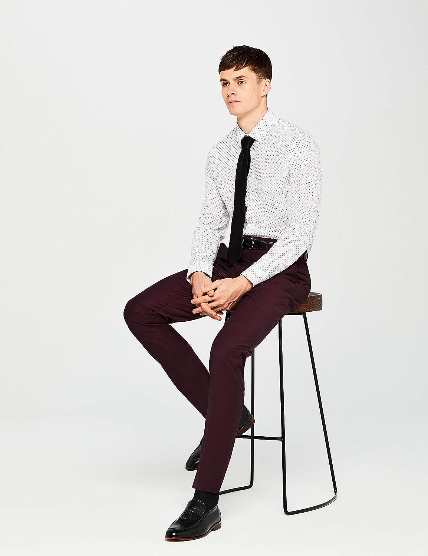 Wei/ß Marchio Label: L Hem /& Seam Slim Fit Printed Camicia Business Uomo 41 cm Ditsy Print