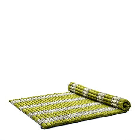 Leewadee Roll-Up Thai Mattress Guest Bed Yoga Floor Mat Thai Massage Pad XXL Queen-Size Eco-Friendly Organic And Natural, 79x59x2 inches, Kapok, green