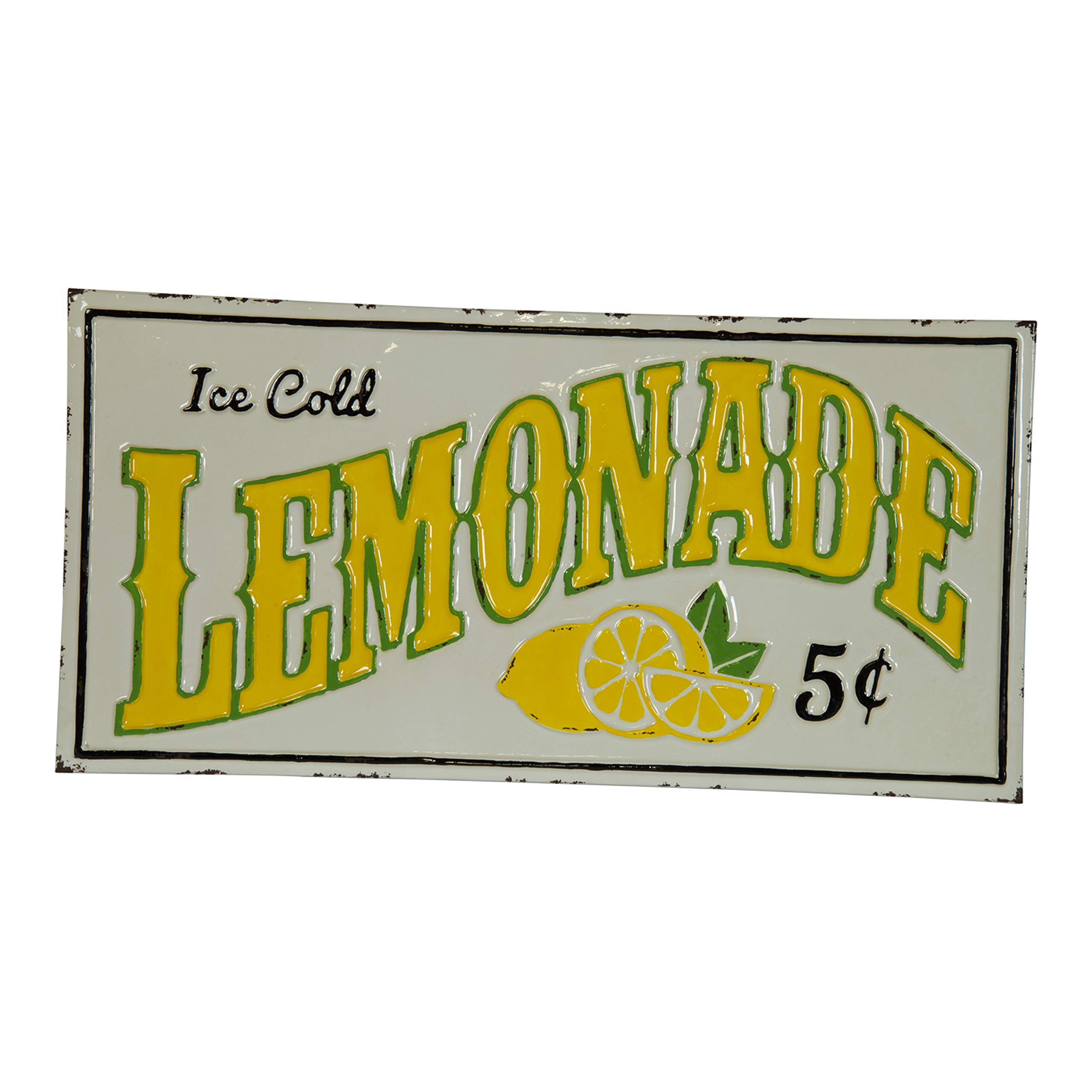 VIPSSCI Ice Cold Lemonade Sign White Wall Mounted Sign with Yellow Font and Lemon Design Kitchen Art