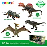 BLAGOO Dinosaur Toys with Moving Parts 4 Figures up to 10.2 inches Big Set #6 including Free Augmented Reality 4D Cards