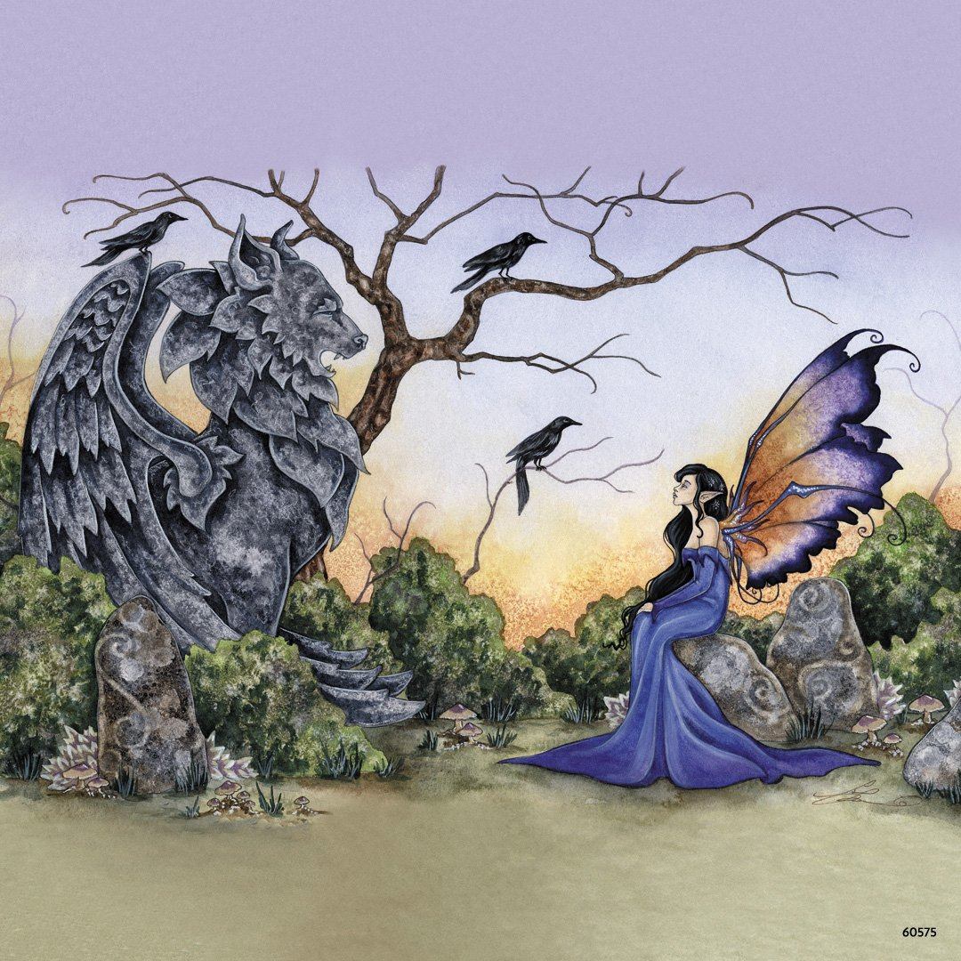3.5x3.5 Inches Tree-Free Greetings Refrigerator Magnet 60575 The Stone Guardian and Fairy by Amy Brown