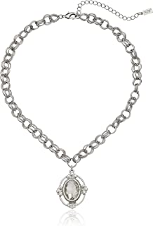 """product image for 1928 Jewelry Silver-Tone Crystal Oval Pendant Necklace, 16""""+3"""" Extender"""