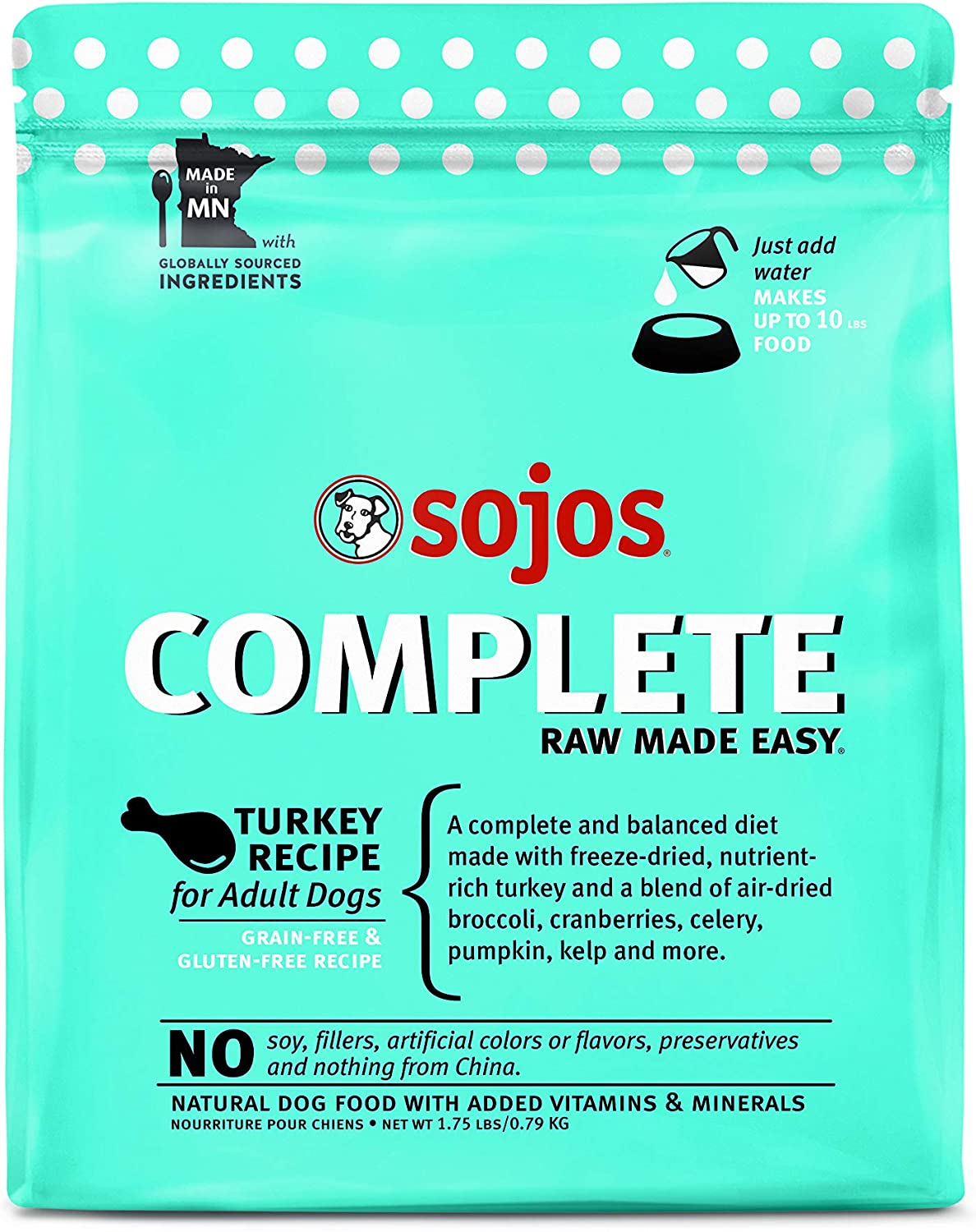 Sojos Complete Natural Raw & Dehydrated Dog Food, Turkey Recipe