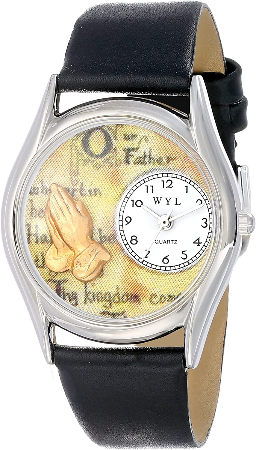Whimsical Watches Women s S0710010 Lord s Prayer Black Leather Watch