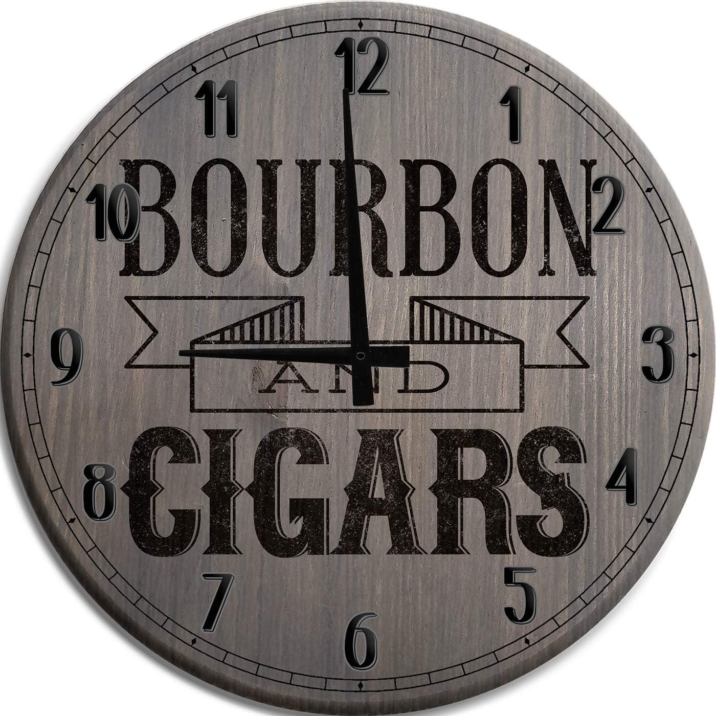 Moon Inc Wall Clock Bourbon and Cigars Whiskey Bar Clock Man Cave Wall Decor Barnwood Gray 15 Inch