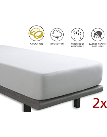 Tural - Pack de 2 Protectores de Colchón Individual Impermeable con Tratamiento de Aceite de Argán