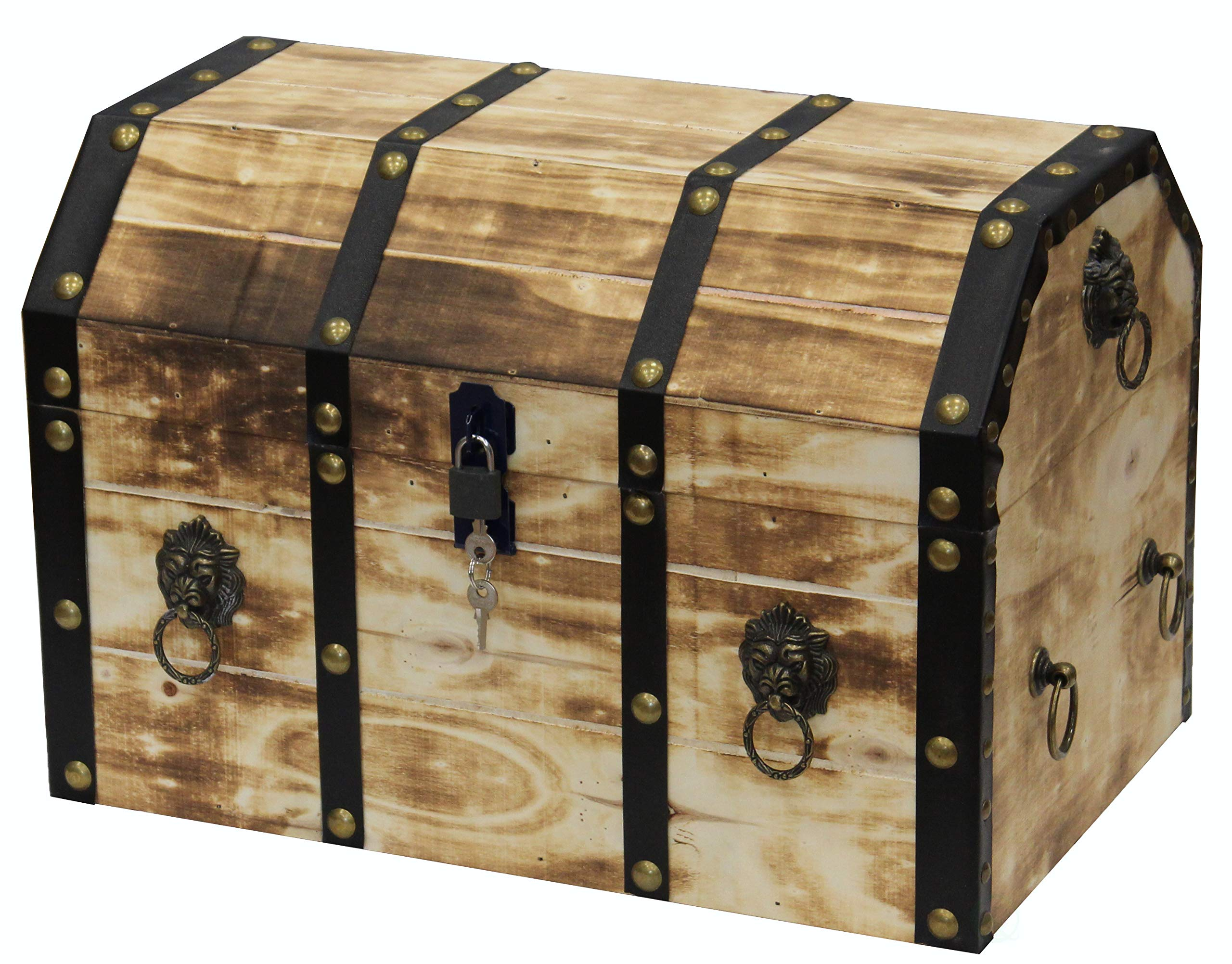 Vintiquewise Large Wooden Decorative Lion Rings Pirate Trunk with Lockable Latch and Lock, Tan