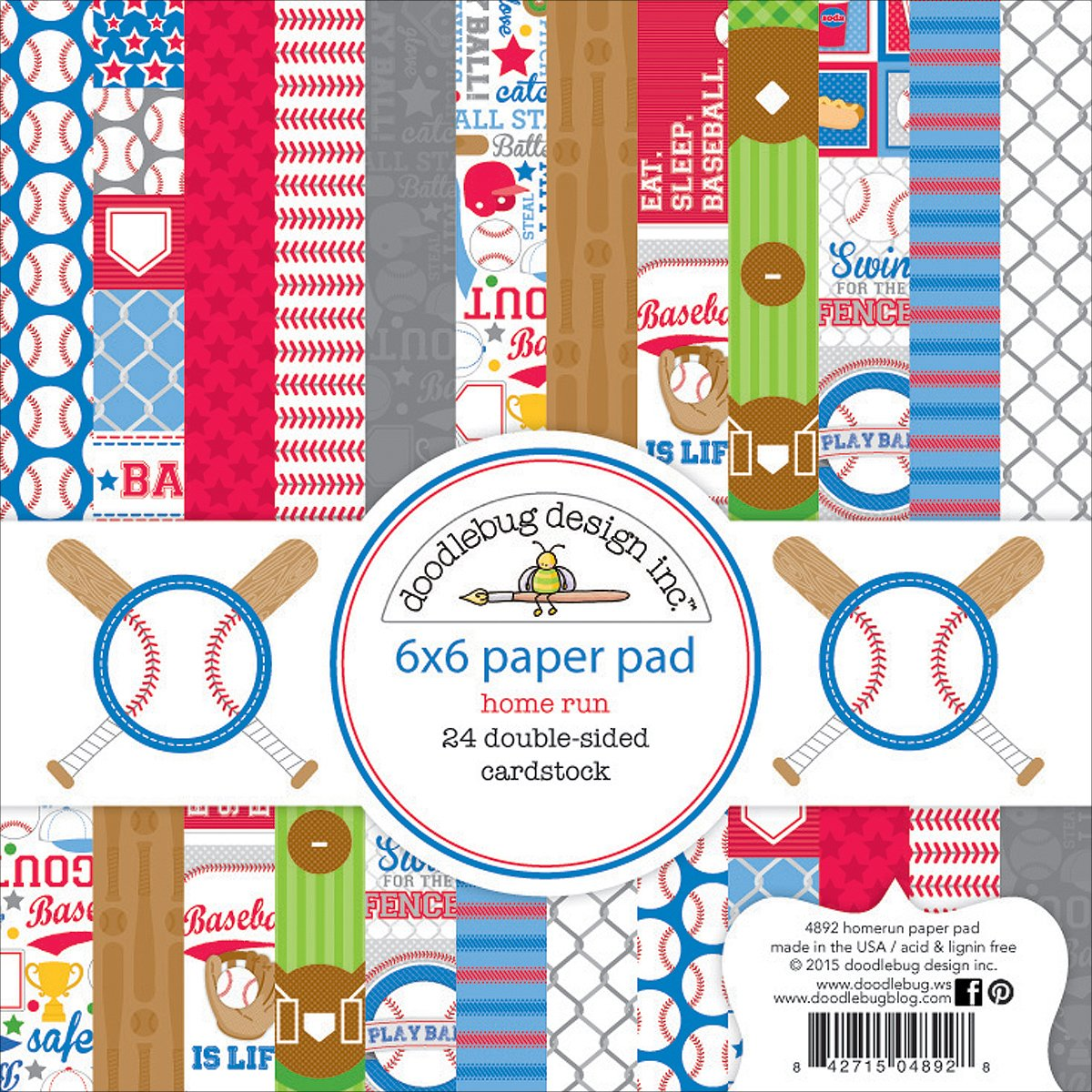 DOODLEBUG 4892 Double-Sided Paper Pad (24 Pack) 6'' x 6''