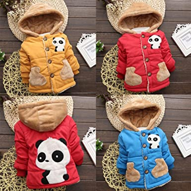 LNGRY Baby Toddler Boy Girl Cartoon Panda Autumn Winter Hooded Coat Warm Clothes