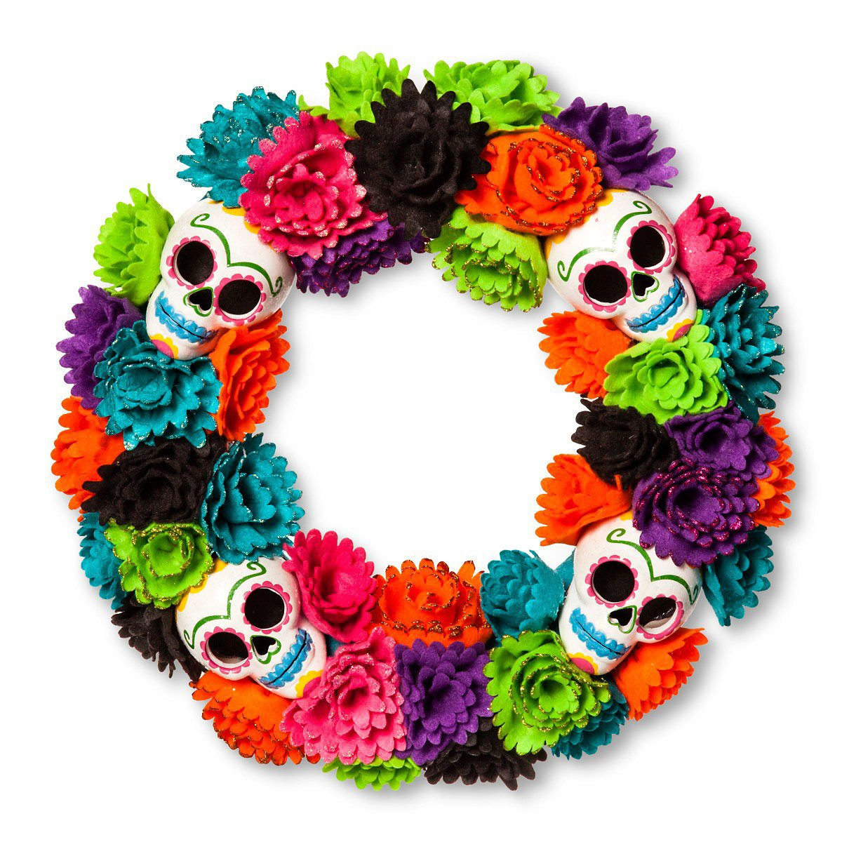 Day Of The Dead Halloween Sugar Skull Floral Wreath My