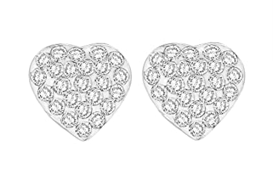 Tuscany Silver Sterling Silver White Crystalique Pave Heart Stud Earrings