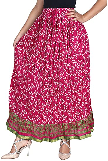 c26a70083 Vani Women's Cotton Ethnic Skirt (BayLeafPink, Pink): Amazon.in ...