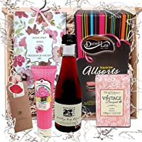 Boxed Hamper Basket for Her: Gifts Ideal for Friend, Sister, Girlfriend or Wife – Food, Wine, Beauty and Bath Presents to Pamper